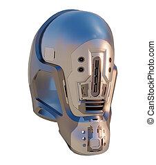 3d Futuristic sci fi robot android space helmet in chrome and aluminium
