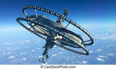 3D futuristic space station
