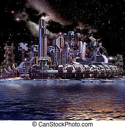 3d, futuristico, architettura, in, ultra viola, tones.
