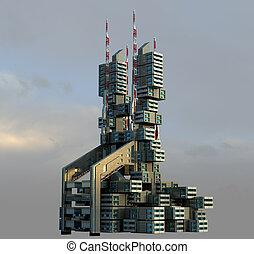 3d, futuristico, high-rise, architettura