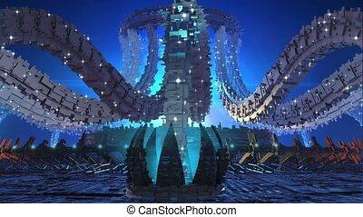 3d, futuristisch, organisch, architectuur