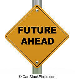 3d, futuro, avanti, segno strada