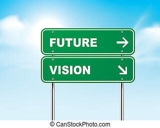 3d, futuro, estrada, visão, sinal