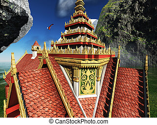 3d, góry, buddyjski rozciągacz, przedstawienie