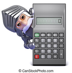 3d Gallant knight finds a calculator - 3d render of a knight...