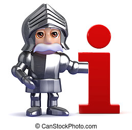 3d Gallant knight has information - 3d render of a knight...