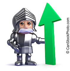 3d Gallant knight is optimistic - 3d render of a knight in...
