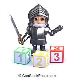3d Gallant knight teaches math - 3d render of a knight in...