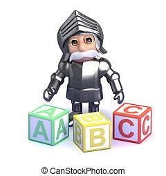 3d Gallant knight teaches the alphabet - 3d render of a...