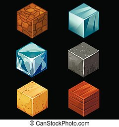 3D Game block Isometric Cubes Set elements