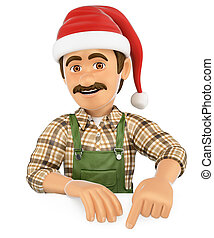 3D Gardener pointing down with a Santa Claus hat. Blank space