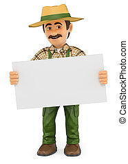 3D Gardener standing with a blank poster