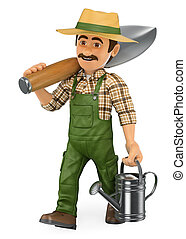 3D Gardener walking with a huge shovel and a watering can -...
