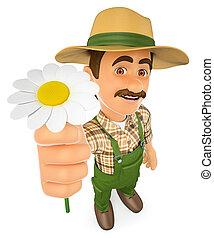 3D Gardener with a daisy. Spring