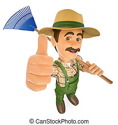 3D Gardener with a rake and thumb up