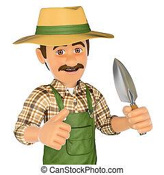 3D Gardener with a small spade