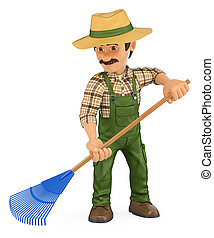 3D Gardener working with a rake