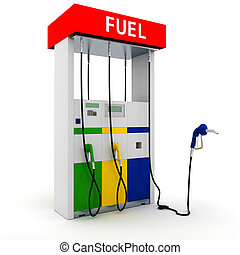 3d gas station on white background