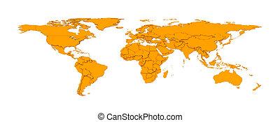 3d, gaufré, pays, frontières, worldmap