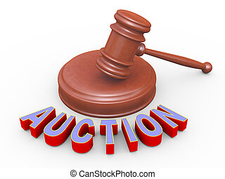 3d gavel and auction - 3d render of word auction and wooden...