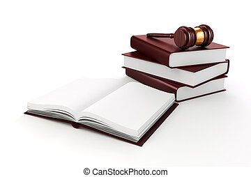 3d gavel and book on white background