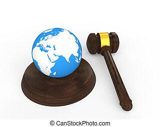 3d gavel and earth globe