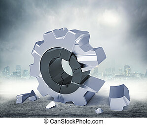 3D gear - 3d broken gear against abstract background