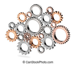 3D gear isolated on white background.