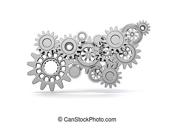 3d gear wheels on white background