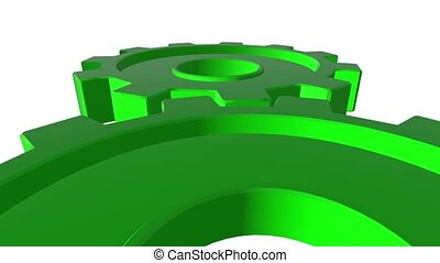 3D gears green. White background. Alpha channel. Close up