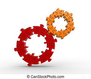 Gears made of puzzle.