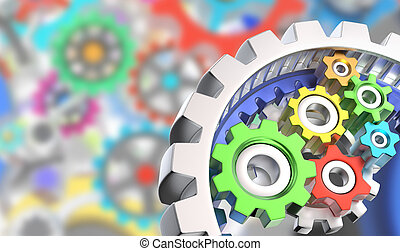 3D gears - Mechanism of various colorful gears