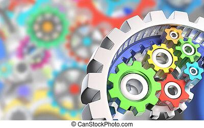 3D gears - Mechanism of various colorful gears
