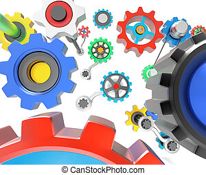 3D gears - Mechanism of various colorful gears on white