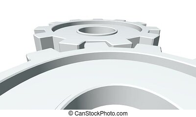 3d gears of white color rotate . White background. Alpha channel. Close up