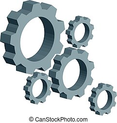 3D gears on white background. Industrial tools.
