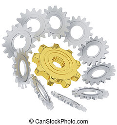 3D gears, Power of team concept for business success...