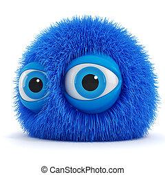 3d, gekke , pluizig, schepsel, met, grote blauwe ogen