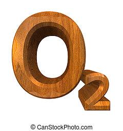 3d, gemaakt, chemie, formules, in, hout, van, zuurstof