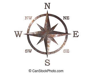 3D generated compass, wind rose out of rusty weathered copper material with clipping path