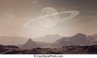 3d generated landscape: deserted planet with Saturn