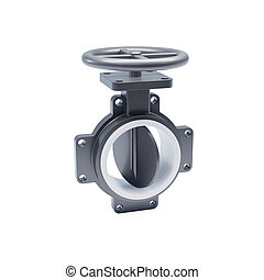 3d generic mechanical butterfly valve on piping cutaway fuel...