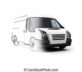 3d, generico, bianco, furgone, mezzo, sketched