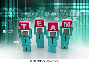 3d, gens tenant mains, dans, les, mot, équipe