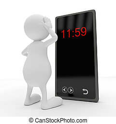 3d, gente, con, elegante, teléfono
