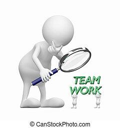 3d, gente, con, lupa, y, palabra, trabajo en equipo