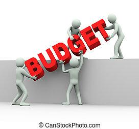 3d, gente, -, concepto, de, presupuesto
