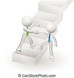 3d, gente, escalera que sube, a, éxito, logotipo