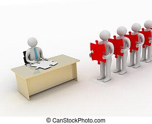 3d, gente, espera, en la línea, tenencia, artículos del rompecabezas, delante de, un, sentada de la persona, atrás, un, escritorio, teniendo, un, molde