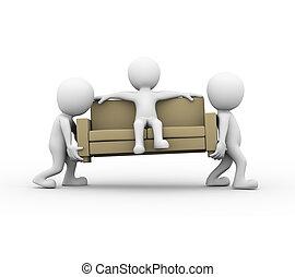 3d, gente, llevar un sofá, con, hombre